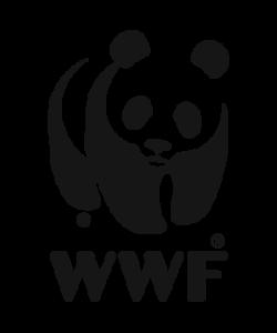 Le logo WWF combine du texte et un dessin, tout en noir et blanc